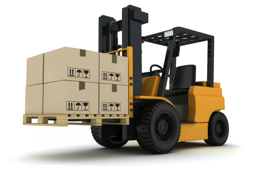 Freight Quote Request Forklift with Pallet Raised